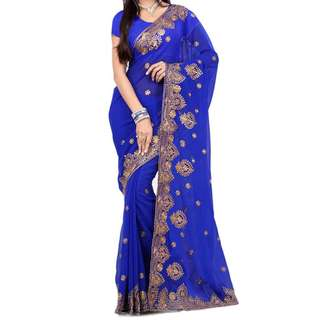 Royal blue saree with blouse