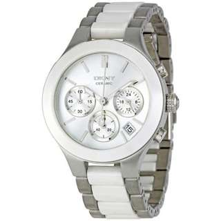 WHITE DIAL CHRONOGRAPH STEEL AND CERAMIC LADIES WATCH NY8257
