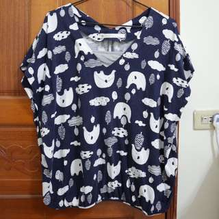 🚚 (代售)A La Sha 深藍花紋假兩件上衣