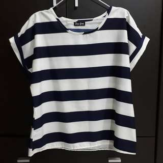 Navy Blue and White Striped Blouse