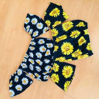 Floral off shoulder crop top in daisy and sunflower print