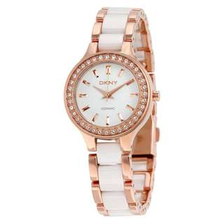 WHITE DIAL ROSE GOLD STEEL AND WHITE CERAMIC LADIES WATCH NY8141