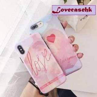 手機殼IPhone6/7/8/plus/X : 粉色字母愛心藍光全包黑邊軟殼