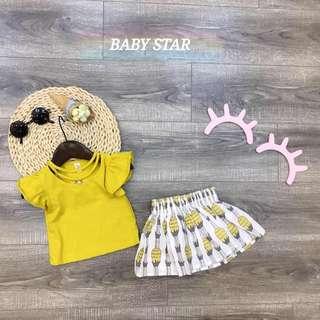 Little Cutie Yellow Pineapple Skirt and Shirt