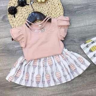 Little Girl Peach Pineapple Shirt and Skirt