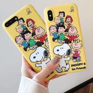 手機殼IPhone6/7/8/plus/X : 黃底史努比家族大集合全包邊磨砂軟殼