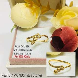 Japan Gold 18k with Real Diamond Stone Proposal Ring Wedding Ring