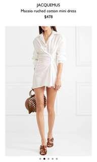 Jacquemus Maceio Ruched Cotton Mini Dress White