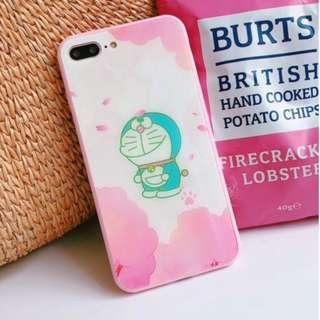 手機殼IPhone6/7/8/plus/X : 粉色多啦a夢(叮噹)全包邊玻璃背板殼