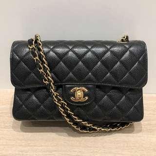 Chanel classic 23cm small size 黑色牛皮金鍊handbag