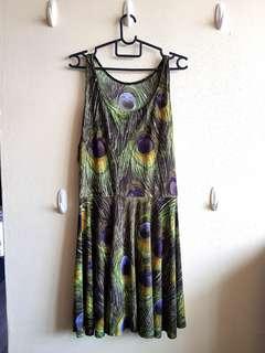 Peacock Print Skater Dress