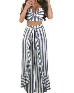 Sexy Fashion Flounce Striped Top With Loose Pants