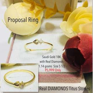 Saudi Gold 18k with Real Diamond Stone Proposal Ring Wedding Rings