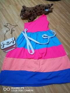 Neon Asymmetrical dress for 4-6 y.o.