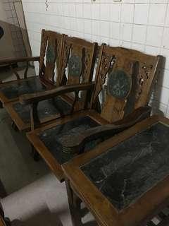 🚚 早期原木大理石椅