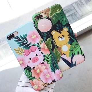 手機殼IPhone6/7/8/plus/X : 可愛森林老虎粉豬全包黑邊軟殼