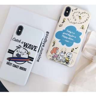 手機殼IPhone6/7/8/plus/X : 沖浪史努比全包黑邊軟殼