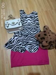 Zebra pink dress for 3-5 y.o.