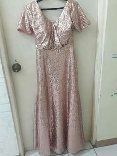 Rosegold Full Sequins Long Gown