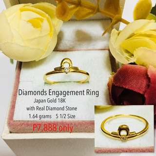Japan Gold 18k with Real Diamond Stone Proposal Ring Engagement Ring