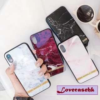 手機殼IPhone6/7/8/plus/X : 簡約大理石紋變文字藍光全包黑邊玻璃背板殼