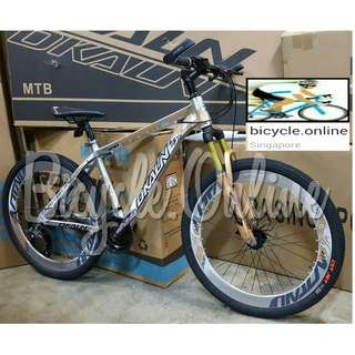 "Chromed Aluminium Mountain Bike / Dkaln 26"" MTB ★ Corrosion Resistance! ☆ Microshift 27Speeds, Sports Rims ☆ Brand New Bicycles"