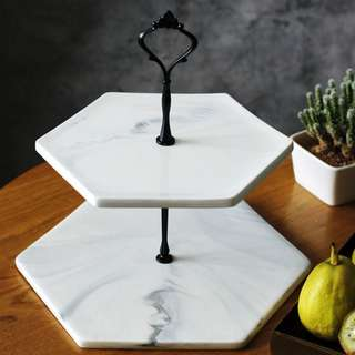 Preorder | Two Layered White Marble Cake Stand