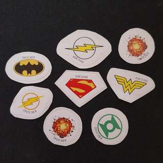 (Set 2 of 8) 8 pcs per Set DC Comics Mini LOGO Stickers