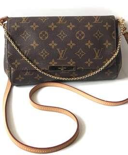 GOOD DEAL! Preloved Louis Vuitton Favorite MM Monogram 2014 complete with chain, strap, receipt original, & dustbag. IDR 9.750.000