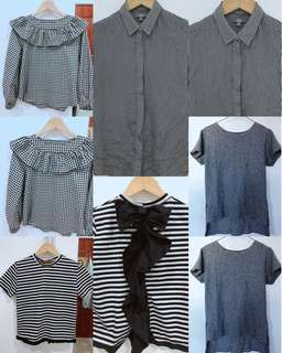 Gray All You Can (Gingham with Frills, Uniqlo Stripes, Blouse Stripes Black, NEW Gray plain Blouse)
