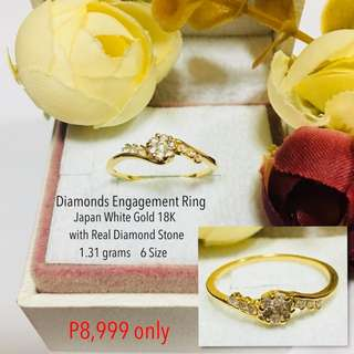 Japan White Gold 18k with Real Diamond Stone Proposal Ring Engagement Ring