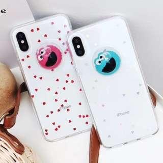 手機殼IPhone6/7/8/plus/X : 芝麻街立體水球閃粉底全包邊透明軟殼