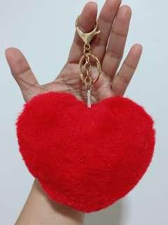 Fur Heart Keychain & Bag Accessory