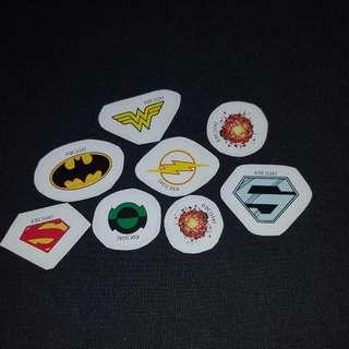 (Set 1 of 8) 8 pcs per Set DC Comics Mini LOGO Stickers