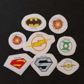 (Set 4 of 8) 8 pcs per Set DC Comics Mini LOGO Stickers
