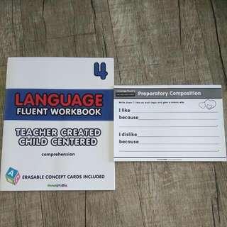 Language (English) Fluent Workbook 4 (Comprehension) with Erasable Concept Cards