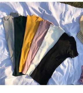 Ruffles sleeves slim knitted top