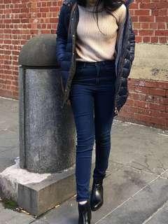 Highwaisted dark denim jeans
