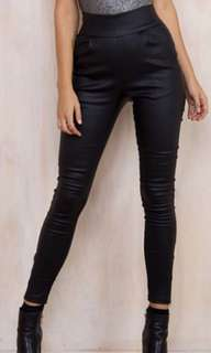 Wet-Look High Waisted Pants
