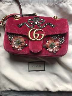 Gucci Bag embellished pink mini marmont handbag