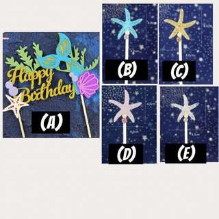 (11/6)  FREE NORMAL MAIL - Happy Birthday Mermaid topper /under the sea theme / Starfish Cake Toppers/ Tags / Baking Supplies