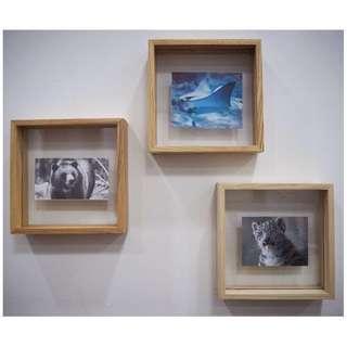 Wooden floating photo frames