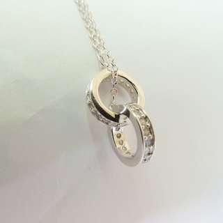 🚚 香港正生純銀飾-雙環項鍊 玫瑰金
