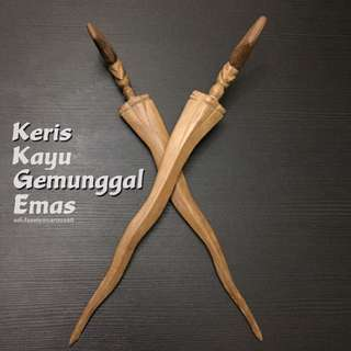 (Sold) Ramadhan Special#11: Keris Kayu Gemunggal Emas (2 Pieces One Price)