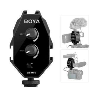 BOYA BY-MP4 2-channel Audio Adapter w/ Mono Stereo Switch for Canon Sony Panasonic DSLR Camera for iPhone Samsung Smartphone