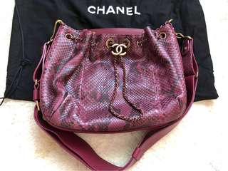 CHANEL Python drawstring bag