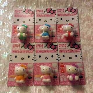 Sanrio 絕版罕有 日本限定 立體 Hello Kitty 擦膠 一套6個
