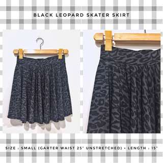 Black Leopard Skater Skirt