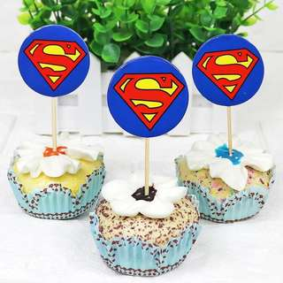 💥 Superheroes Superman party supplies - cupcake toppers/ dessert toppers / party deco