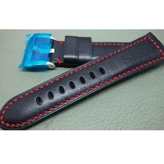 PANERAI 代用 26mm錶帶 (ref:2622黑色紅線)